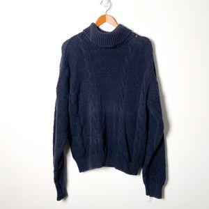 Vintage Blue Oversized Chunky Knit Turtleneck